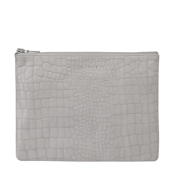 Status Anxiety | Anti-Heroine Clutch GREY CROC | Shut the Front Door