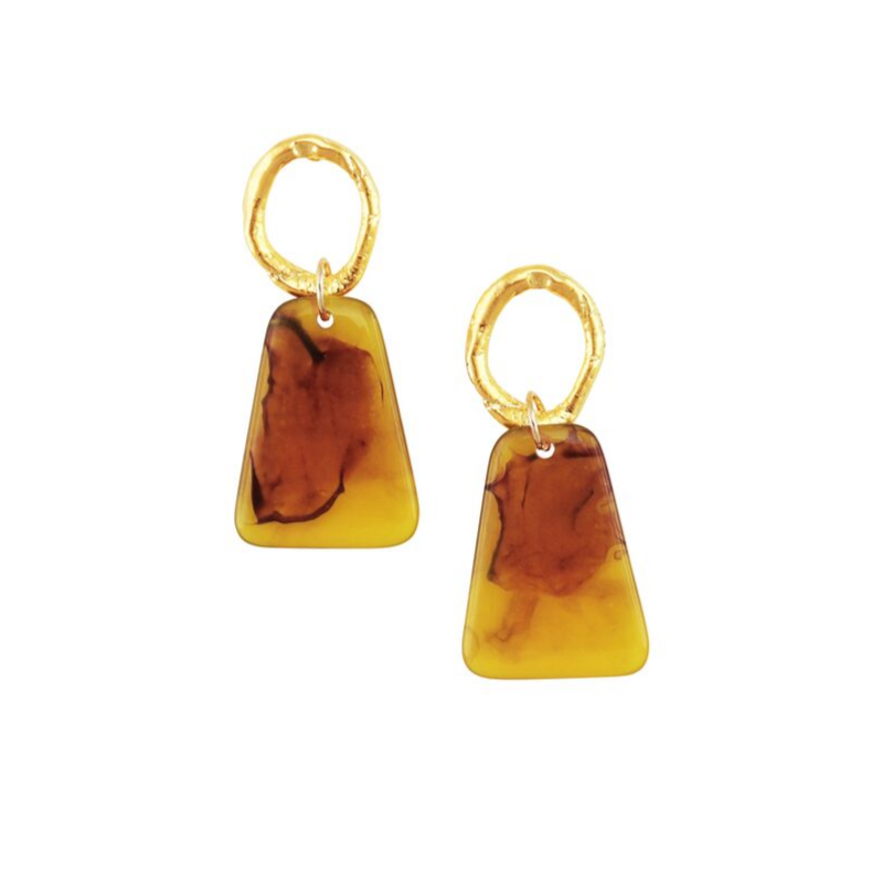 Tiger Tree | Gold & Amber Resin Fan Earrings | Shut the Front Door