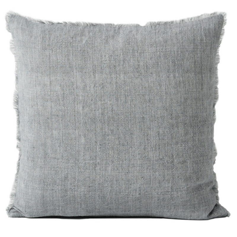 Aura | Vintage Linen Fringed Cushion Smoke | Shut the Front Door