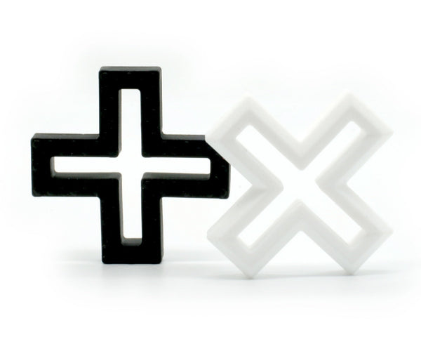 Lulu Lala | Cross Silicone Teether - Black/White - Set of 2 | Shut the Front Door