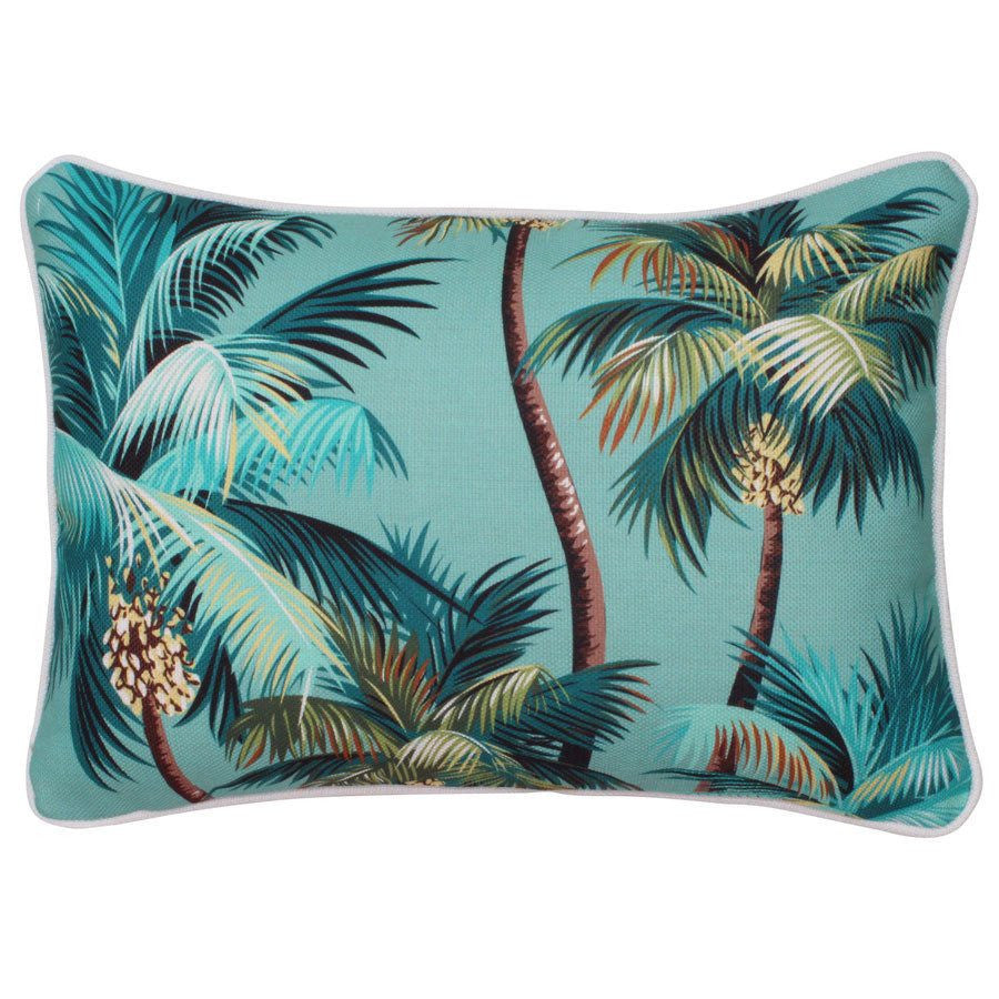 Escape to Paradise | Cushion Palm Trees Lagoon 35x50cm | Shut the Front Door
