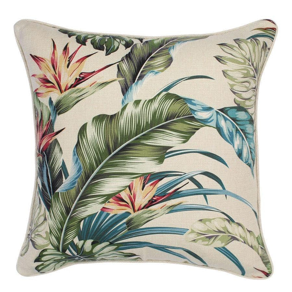 Escape to Paradise | Outdoor Cushion Tropical Paradise Natural 45x45cm | Shut the Front Door