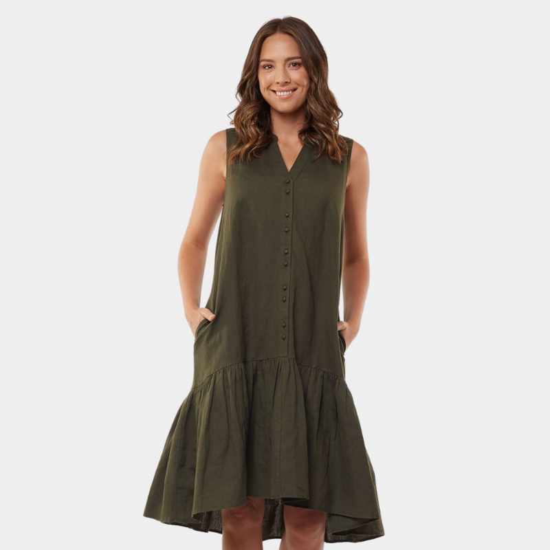 Foxwood | Yara Dress - Dark Olive | Shut the Front Door