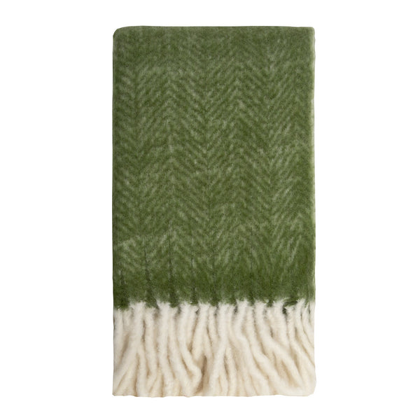 Kerridge Linen | Bliss Mohair Blend Herringbone Throw  Kale | Shut the Front Door