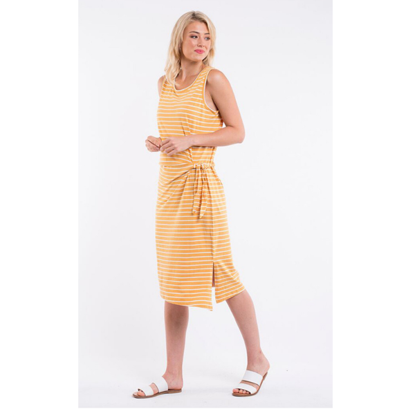Bleecker Dress - Mustard & White Stripe
