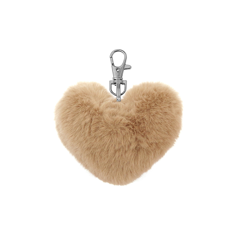 Le Forge | Fluffy Heart Keychain - Mocha | Shut the Front Door