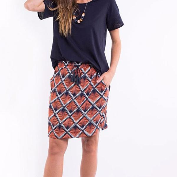 Elm Knitwear | Geo Skirt Orange/Navy | Shut the Front Door