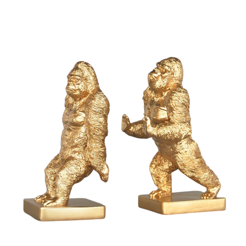 White Moose | Gorilla Bookend Set - Gold | Shut the Front Door