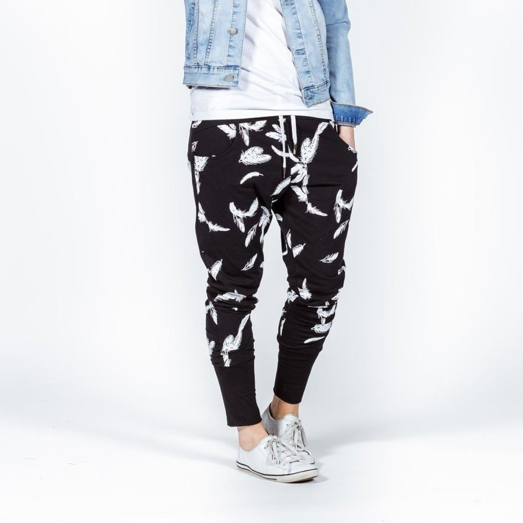 Home-lee | Apartment Pants - Black with White Feather | Shut the Front Door