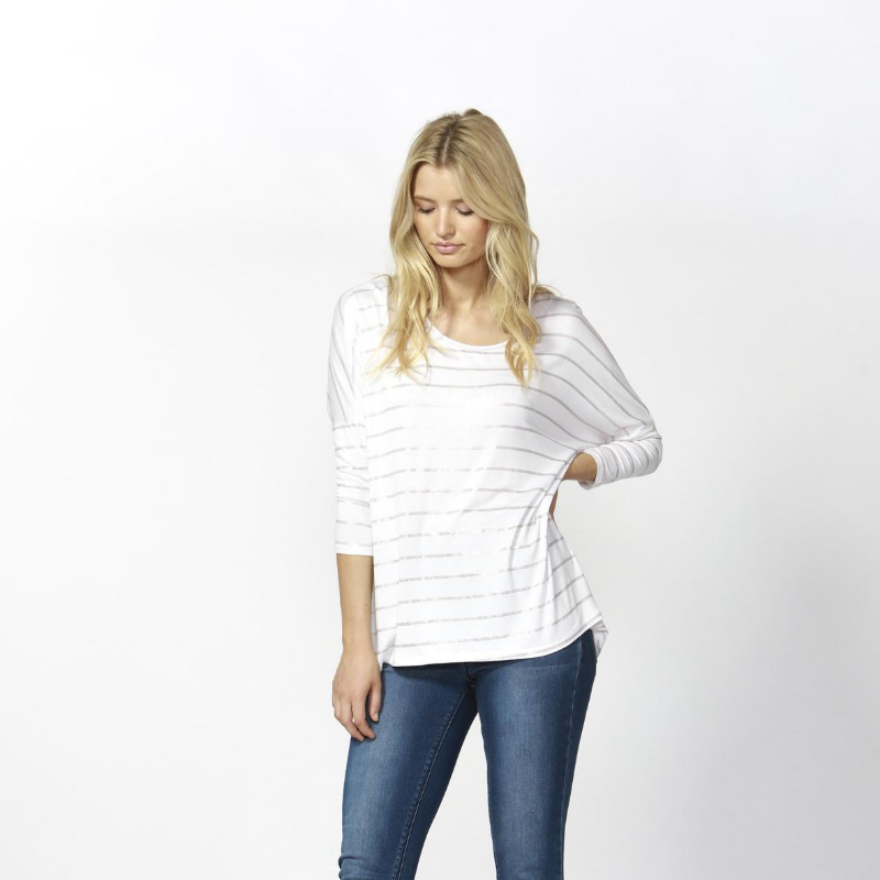 Betty Basics | Milan 3/4 Sleeve Top - White/Rose Gold | Shut the Front Door