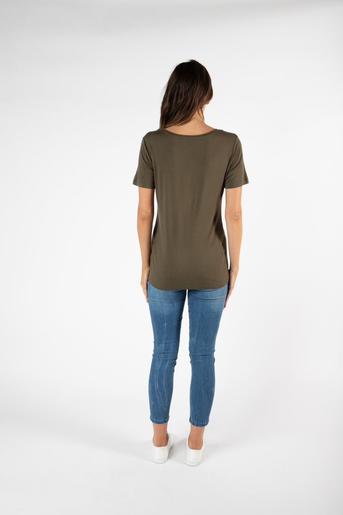 Betty Basics | Manhattan V Neck Tee - Khaki | Shut the Front Door