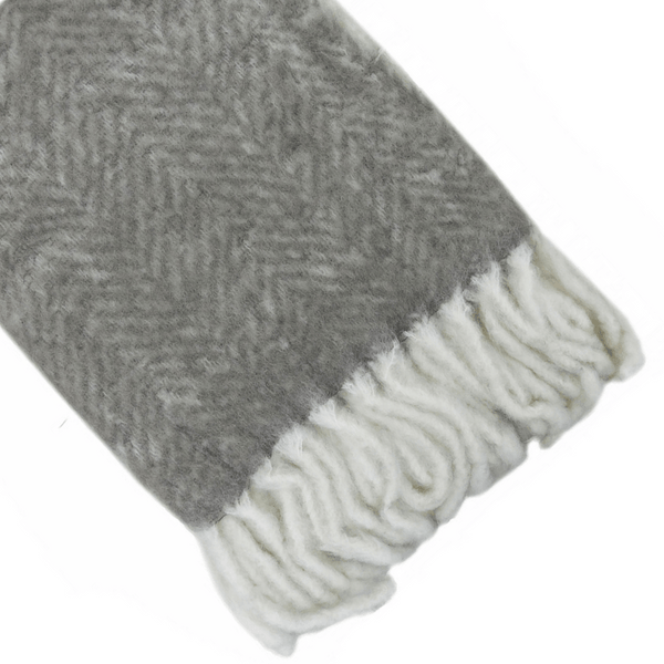 Kerridge Linen | Bliss Mohair Blend Throw Bumble Fringe LIGHT GREY/IVORY | Shut the Front Door