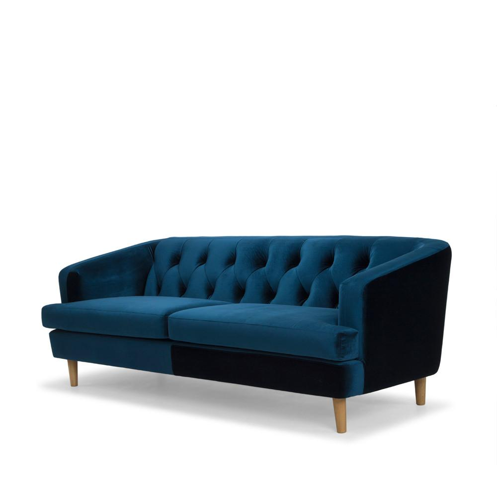 Baxter 3 Seat Velvet Sofa Blue Preorder Shut The Front Door Online