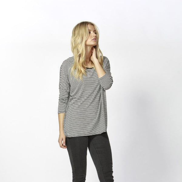 Betty Basics | Milan 3/4 Sleeve Top Black White Stripe | Shut the Front Door