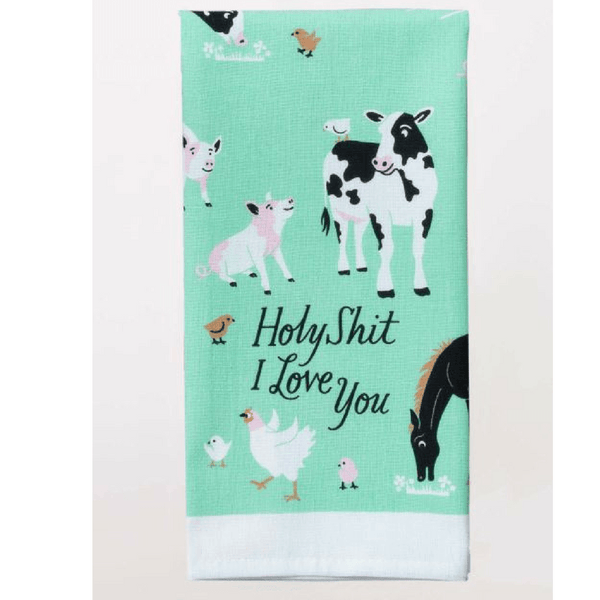 Blue Q | Tea Towel Holy Shit I Love You | Shut the Front Door