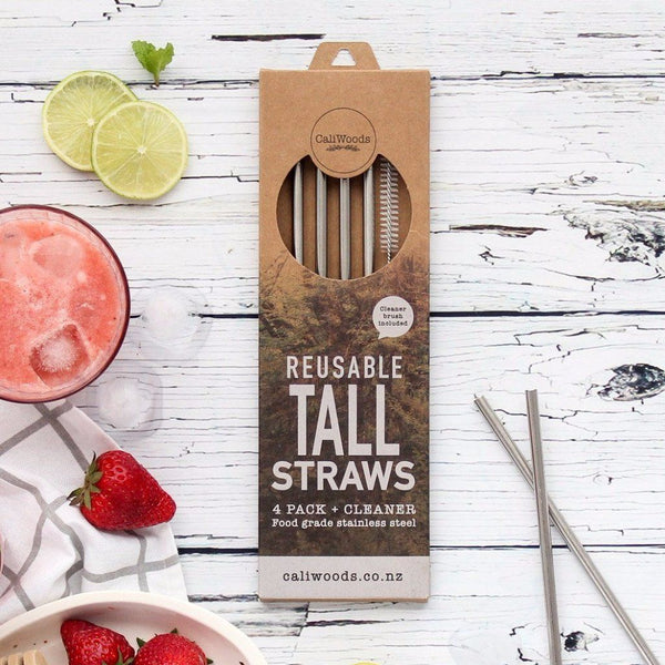 CaliWoods | Reusable Stainless Steel Tall Drinking Straws | Shut the Front Door