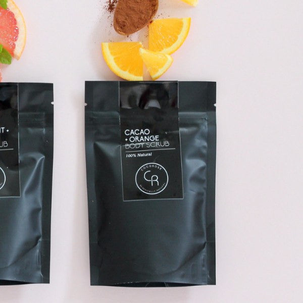 COCOROSE | Body Scrub Cacao Orange Pouch 150gm | Shut the Front Door