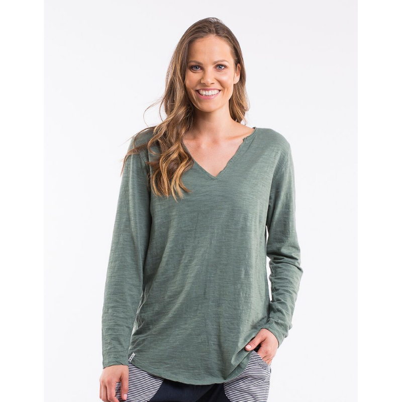 Elm Knitwear | Coles Bay L/S Henley Tee GREEN | Shut the Front Door