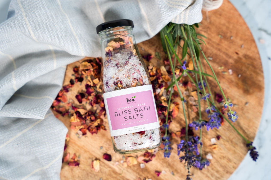 Koa Organics | Bliss Bath Salts - Lavender & Rose 250mls | Shut the Front Door