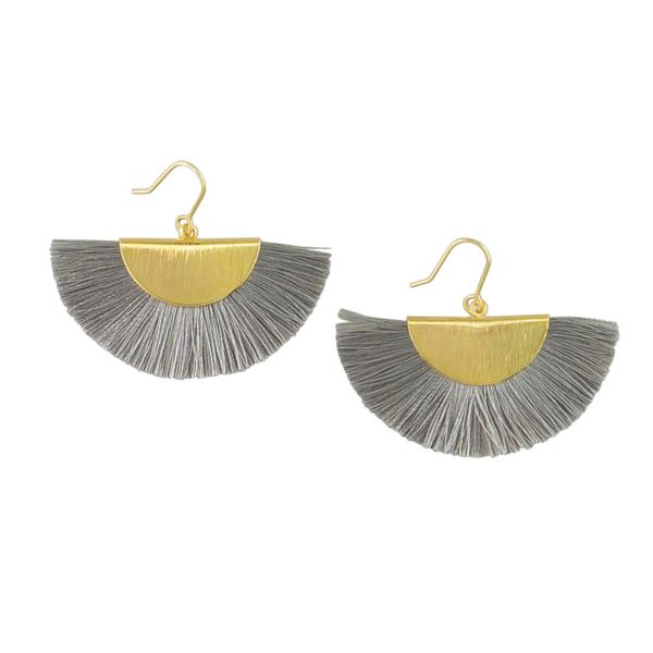 Tiger Tree | Earrings Gold&Grey Fringed Fan | Shut the Front Door