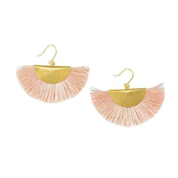 Tiger Tree | Earrings Gold & Pink Fringed Fan | Shut the Front Door