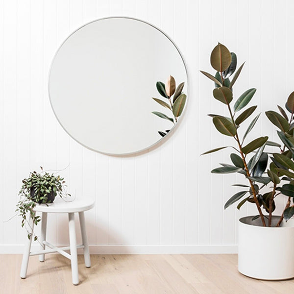 Middle of Nowhere | Flynn Round Mirror 80cm White | Shut the Front Door