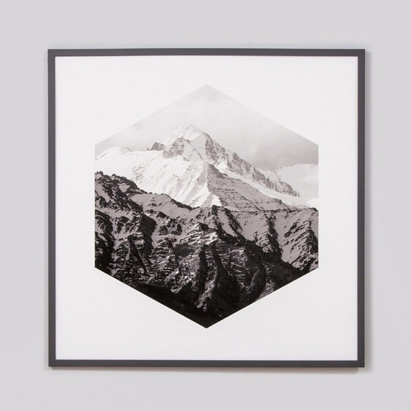 Middle of Nowhere | Framed Print Hexagon Mountains | Shut the Front Door