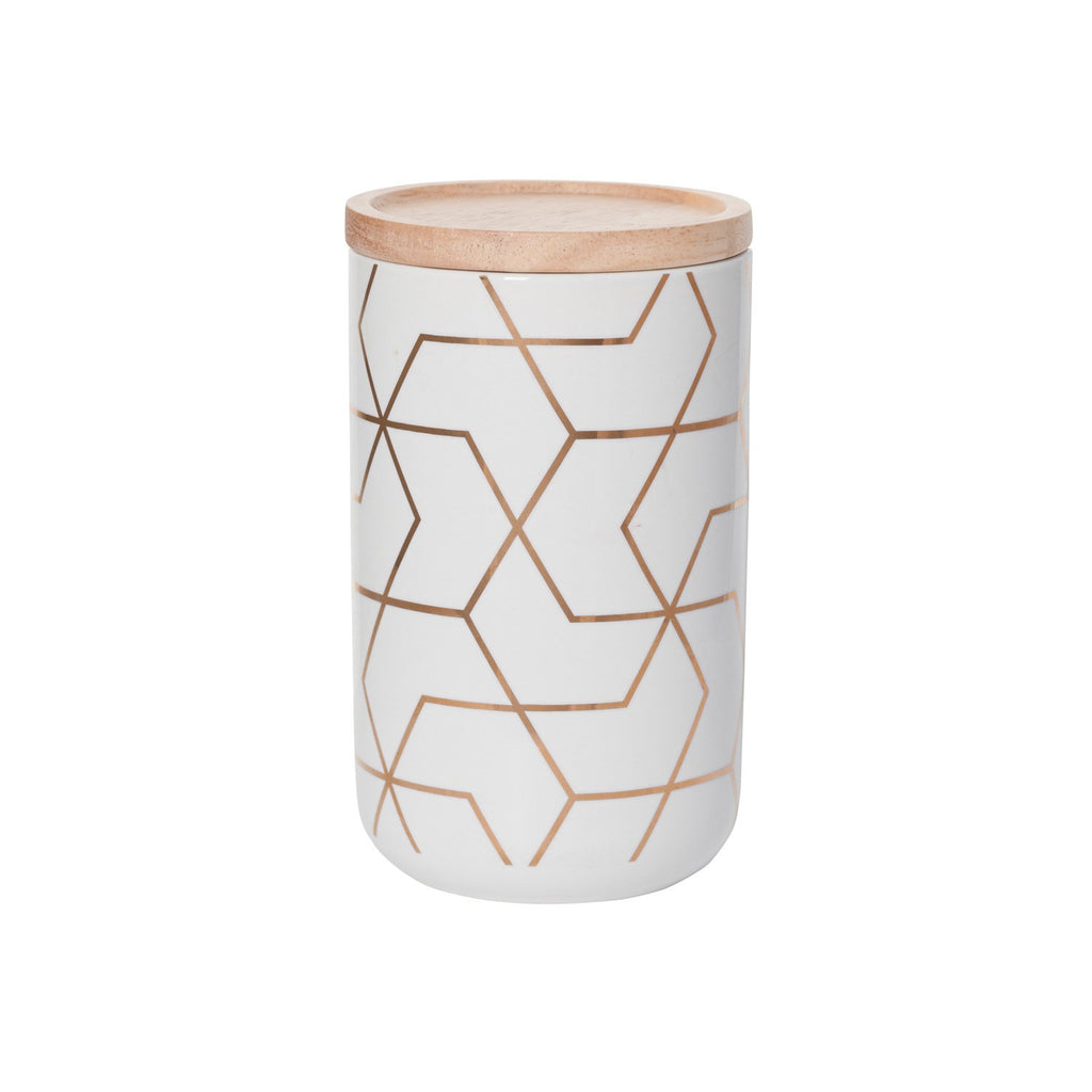 General Eclectic | Canister Tall Spiral Hex Gold | Shut the Front Door