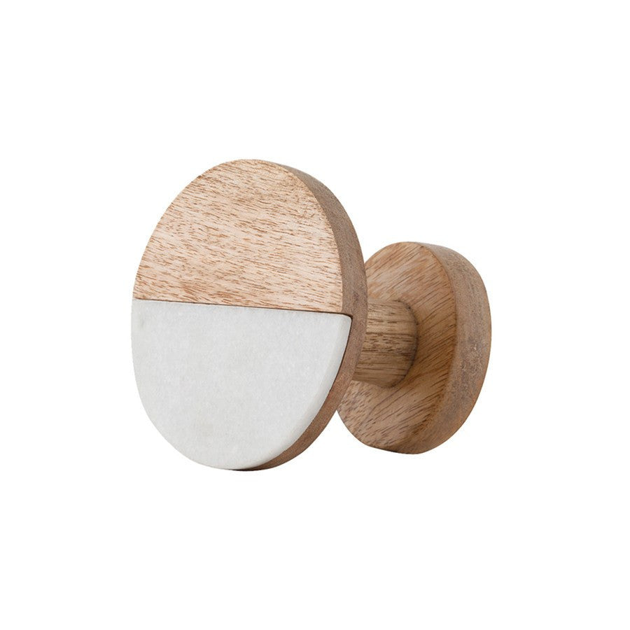 General Eclectic | Wooden Hook Med Marble & Natural Wood | Shut the Front Door
