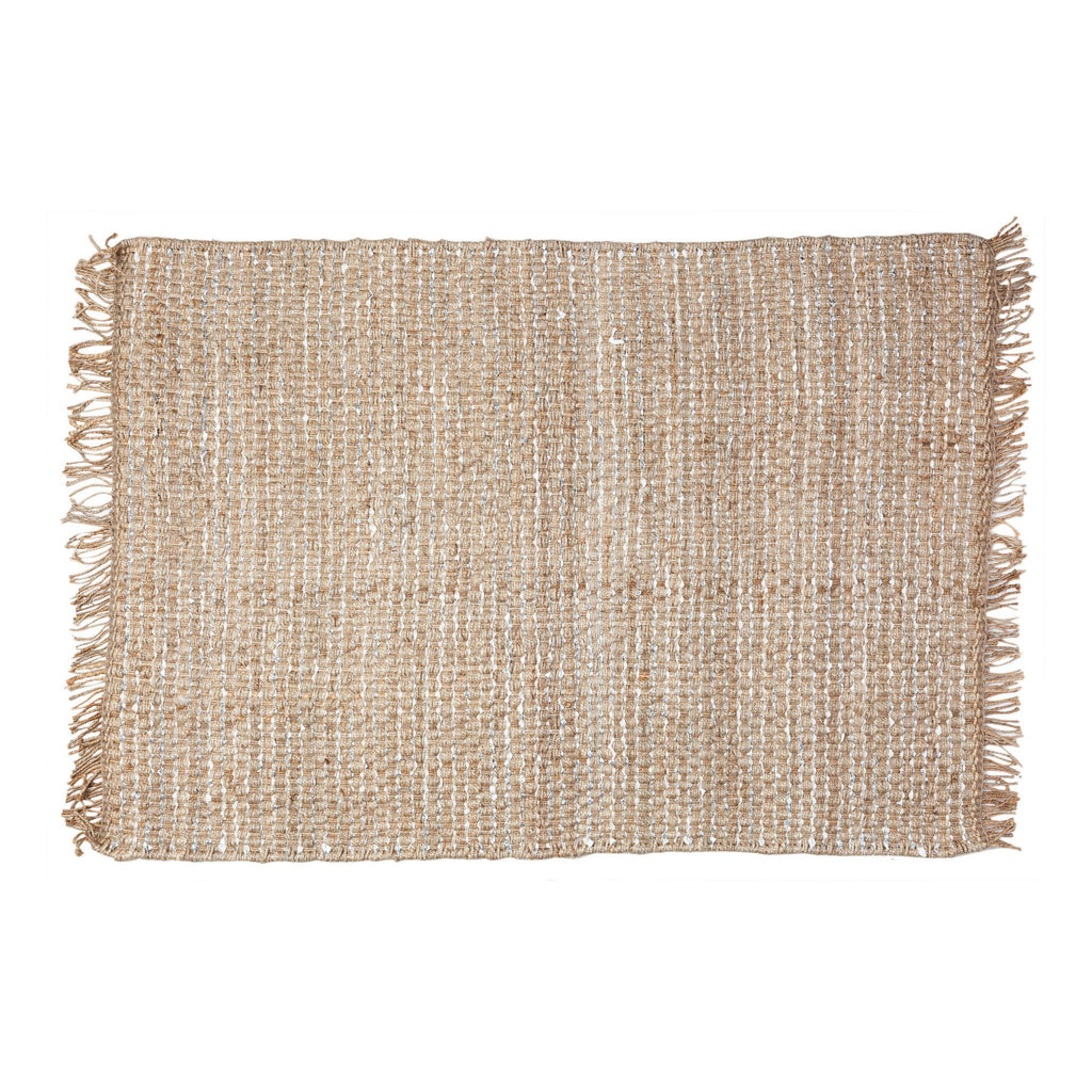 General Eclectic | Hemp Rug Silver Leather Small | Shut the Front Door