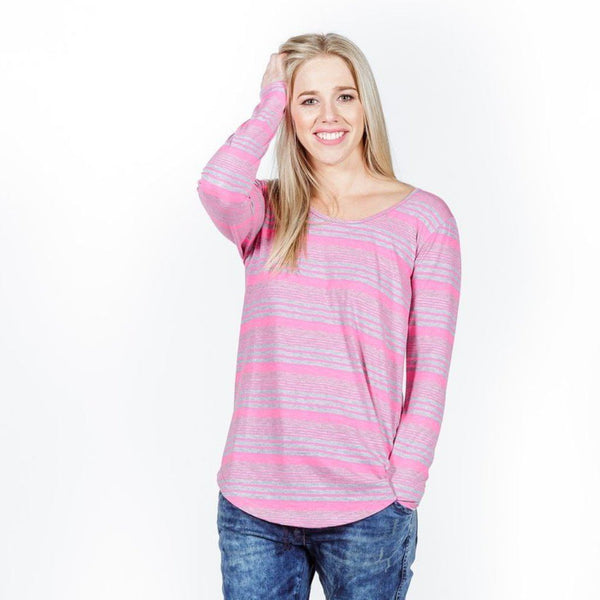 Home-lee | Long Sleeve Tee Pink Grey Stripe | Shut the Front Door