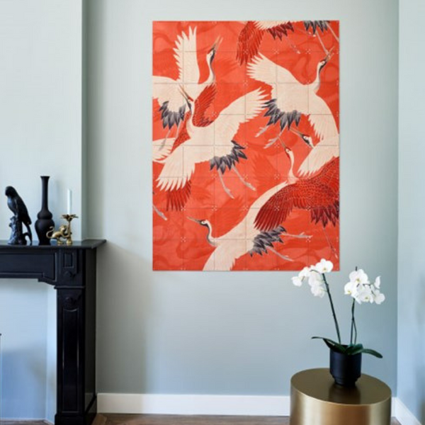 Ixxi | IXXI Artwork Kimono Cranes Double Sided 80x100cm | Shut the Front Door