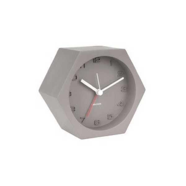 Karlsson | Clock Alarm Hexagon Dark Grey | Shut the Front Door