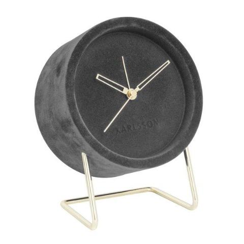 Karlsson | Lush Velvet Alarm Clock - Grey | Shut the Front Door