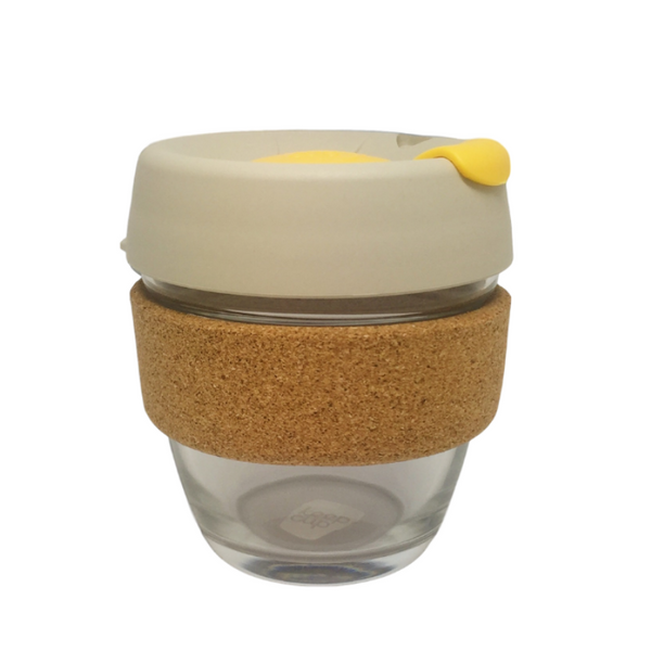 KeepCup | KeepCup Cork 8oz Reusable Glass Cup - Milk & Yellow | Shut the Front Door