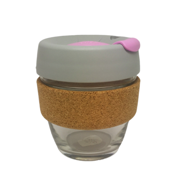KeepCup | KeepCup Cork 8oz Reusable Glass Cup - Grey & Lilac | Shut the Front Door