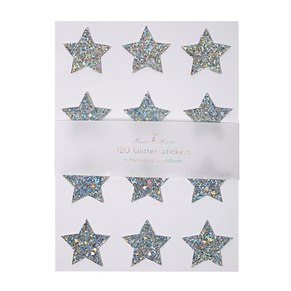Meri Meri | Silver Glitter Star Stickers | Shut the Front Door