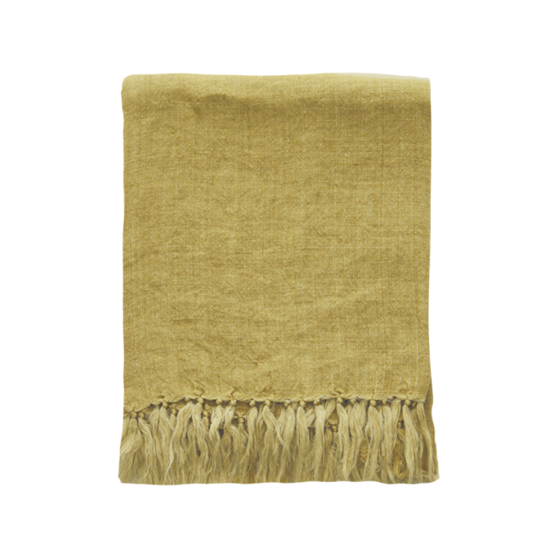 Mulberi | Indira Linen 130x170cm Throw - Ochre | Shut the Front Door