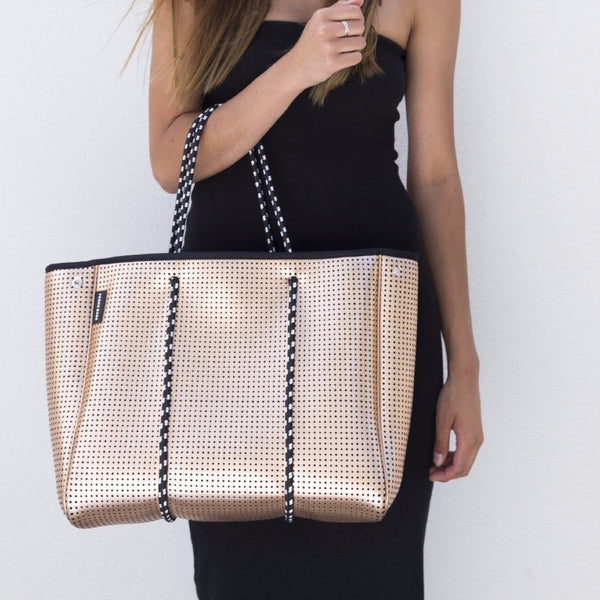 Prene Bags | Neoprene Tote Bag - Metalic Gold | Shut the Front Door