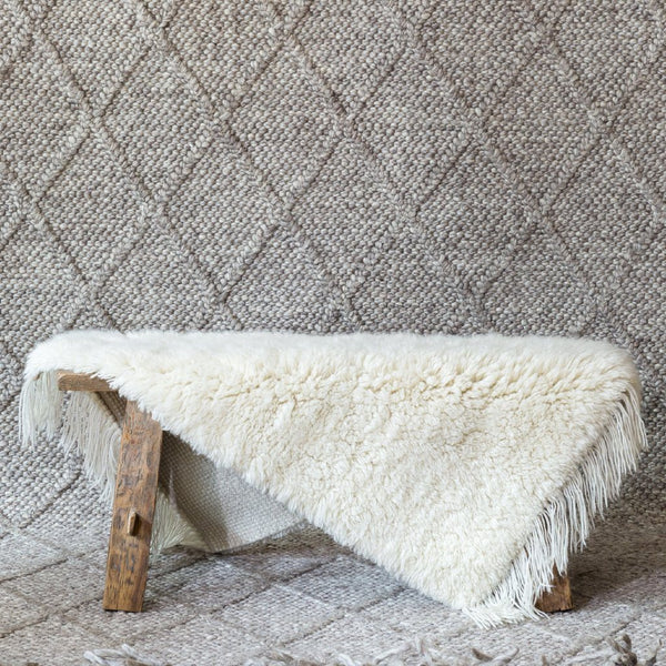 Bear & Fox | Berber Rug - Ivory Wool Small 90x60cm | Shut the Front Door