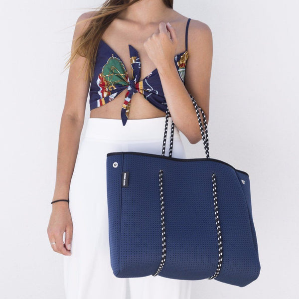 Prene Bags | Neoprene Tote Bag - Sorrento Navy | Shut the Front Door