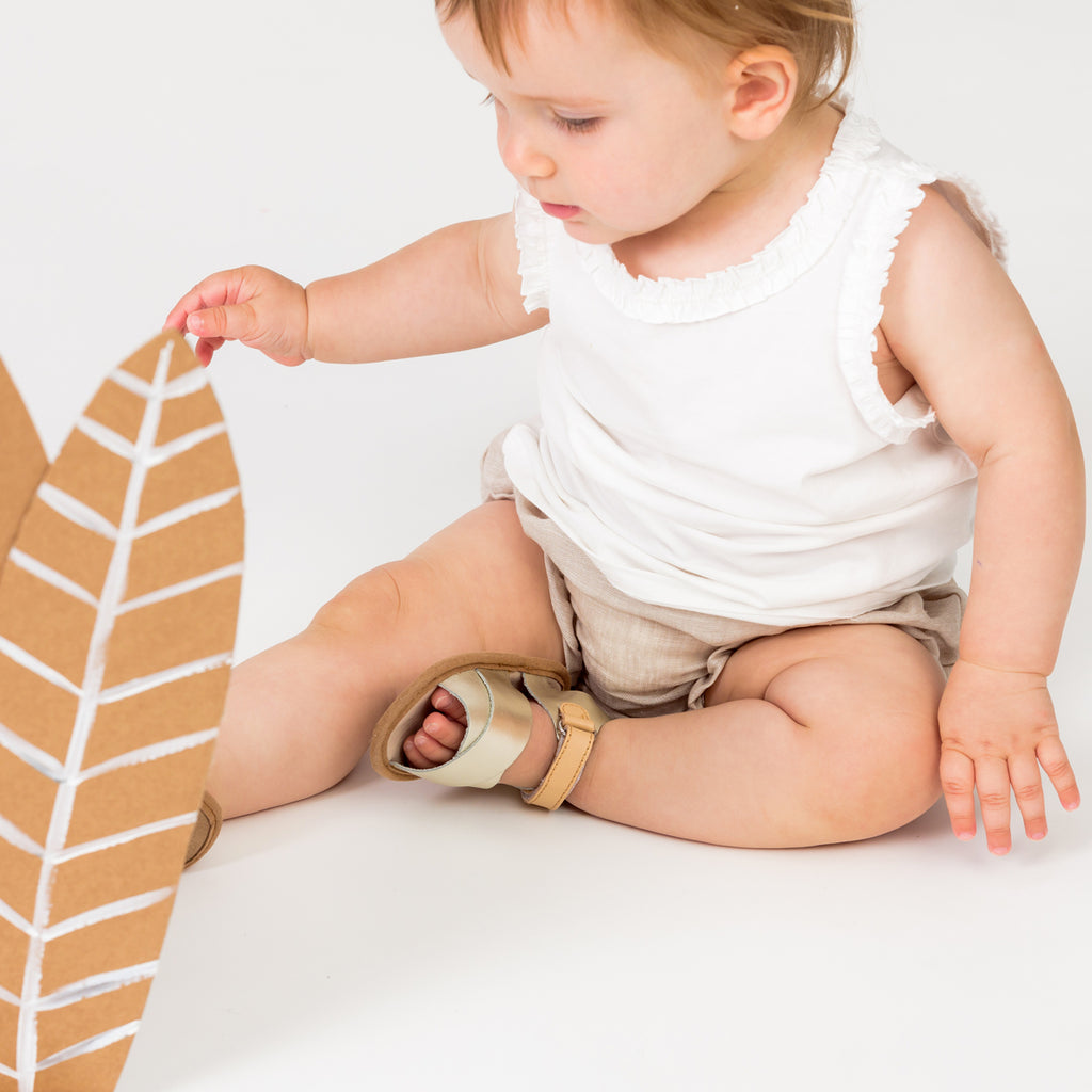 Pretty Brave | Valencia Baby Sandals - Gold | Shut the Front Door