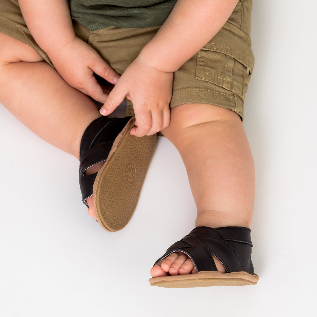 Pretty Brave | Cross-over Baby Sandals - Castle Black | Shut the Front Door