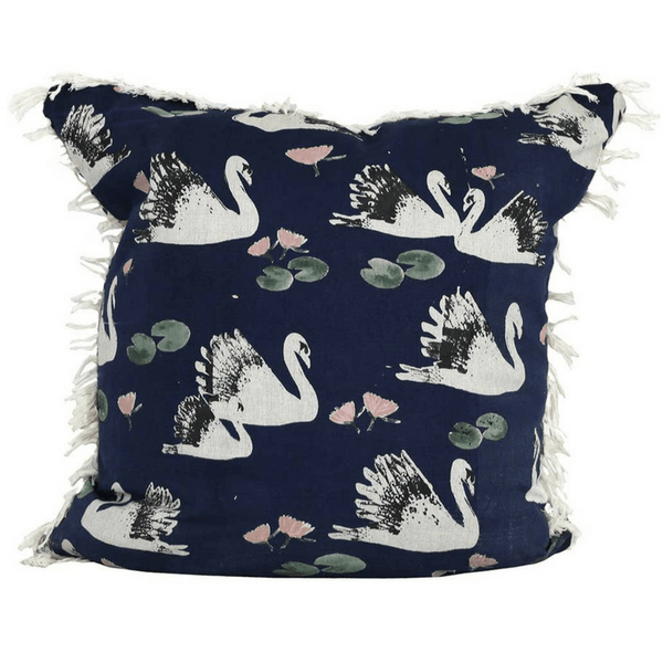Raine & Humble | Fringe Cushion - Swan Lake - Navy | Shut the Front Door