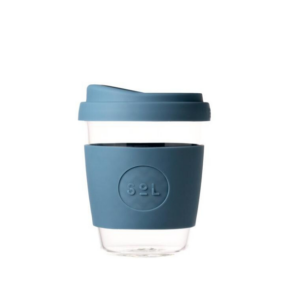 SOL | SOL Reusable Glass Coffee Cup - 12oz Blue Stone | Shut the Front Door