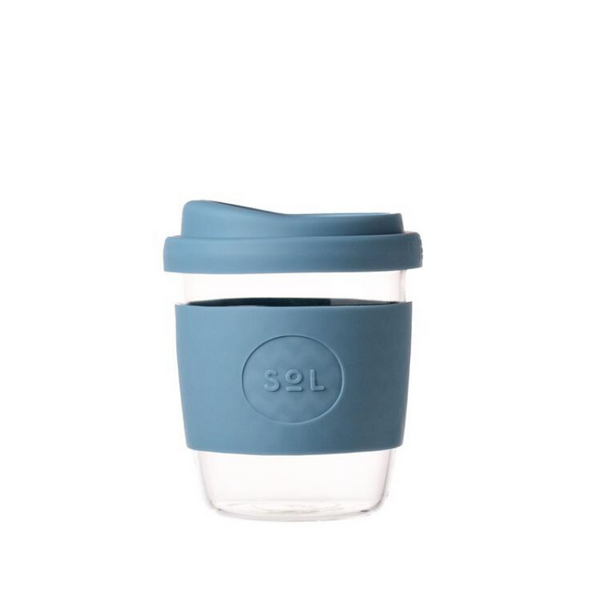 SOL | SOL Reusable Glass Coffee Cup - 8oz Blue Stone | Shut the Front Door