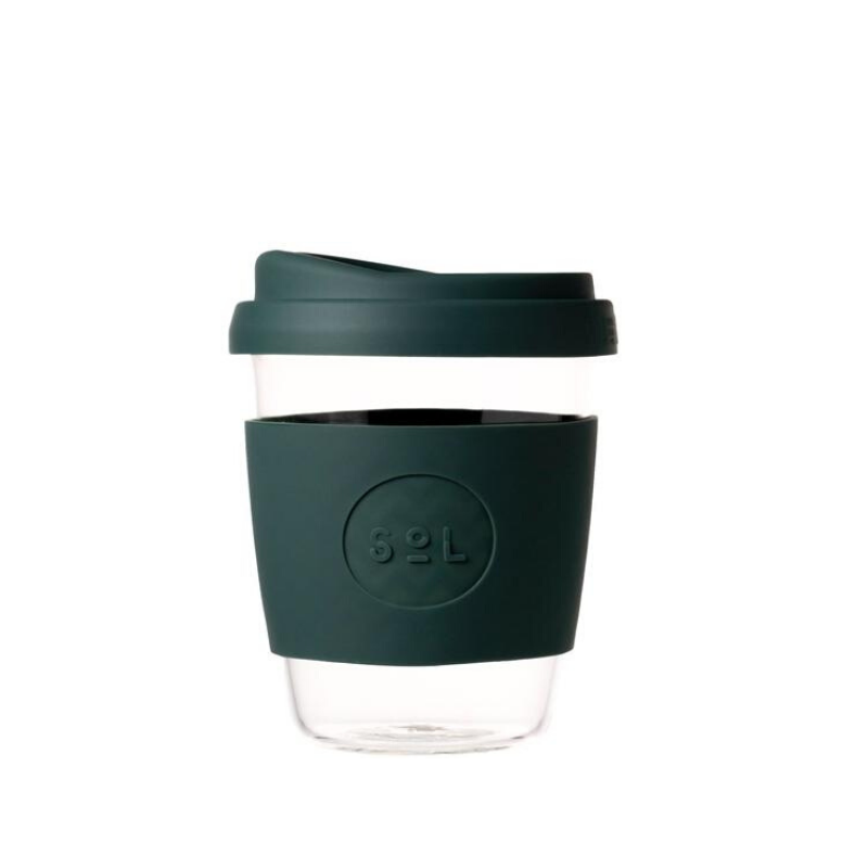 SOL | SOL Reusable Glass Coffee Cup - 12oz Deep Sea Green | Shut the Front Door
