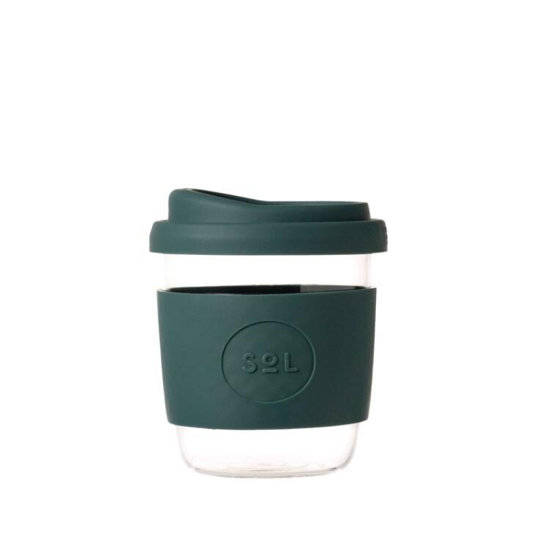 SOL | SOL Reusable Glass Coffee Cup - 8oz Deep Sea Green | Shut the Front Door