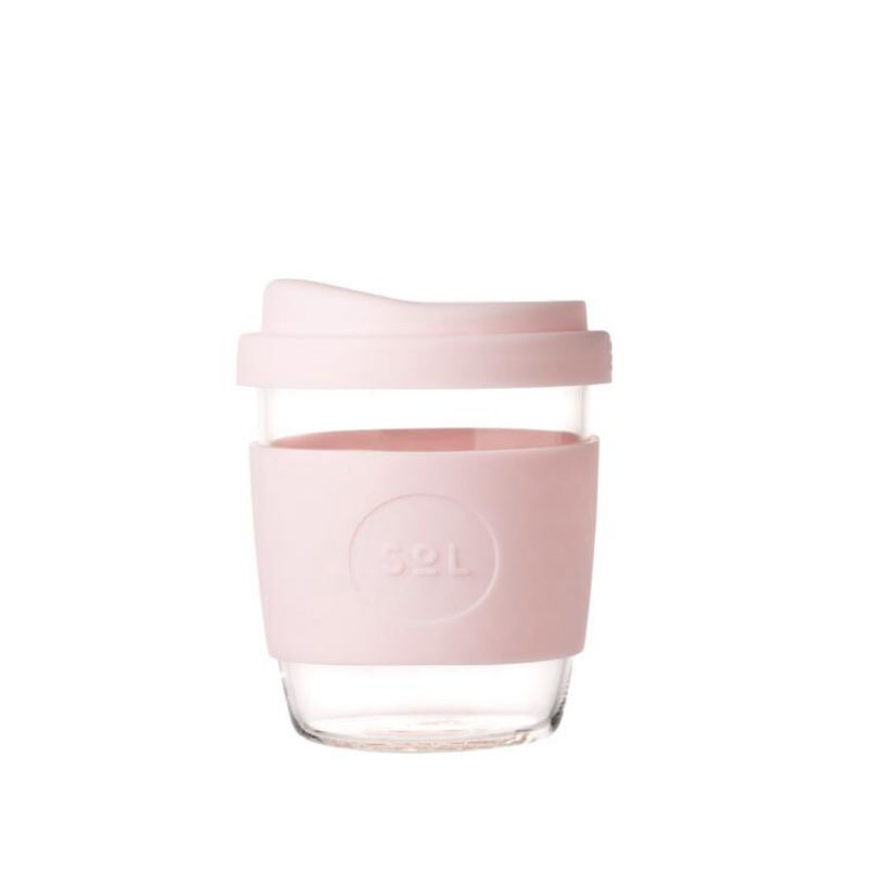 SOL | SOL Reusable Glass Coffee Cup - 8oz Perfect Pink | Shut the Front Door