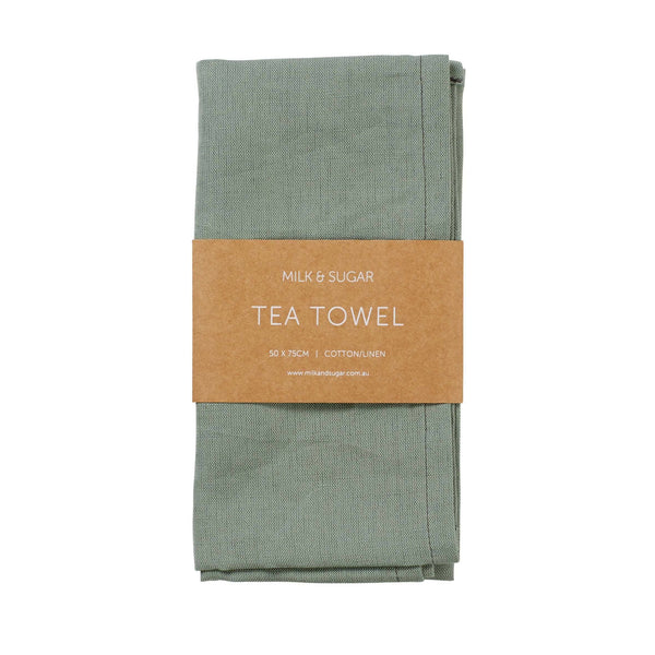 Milk & Sugar | Linen Tea Towel - Green | Shut the Front Door